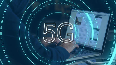 Hacker and 5G written in the middle of a futuristic circles 4k Animation