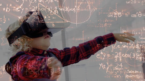 Boy wearing a virtual reality having fun Animation