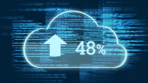 Upload progress clouds and program codes Animation