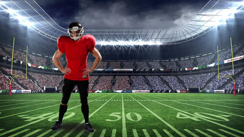 American football athlete standing on the field Animation