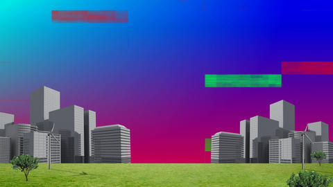 Colorful static and a field with buildings Animation