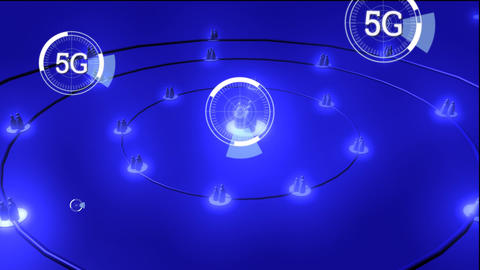 Profile icons and 5G written in the middle of a futuristic circles Animation