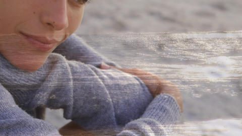 Woman sitting at the beach Animation