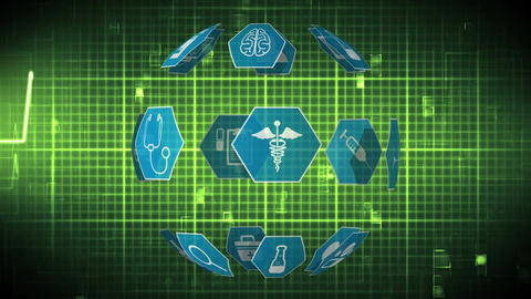 Medical icons and heart rate Animation