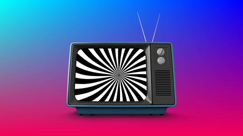 Television with spinning stripes on its screen Animation