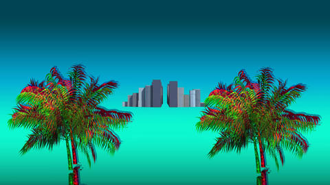 Colorful palm tree and buildings Animation