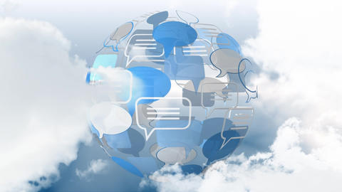 Message bubble icon and clouds CG動画