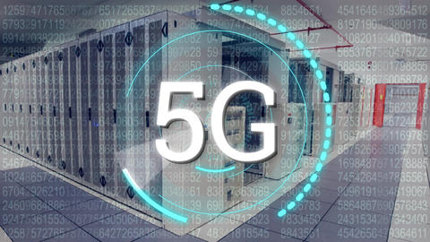 5G written in the middle of a futuristic circles and a corridor of server tower Animation
