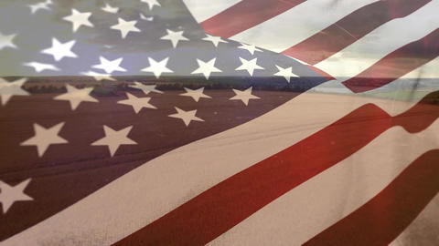 Wide agricultural land with american flag Animation