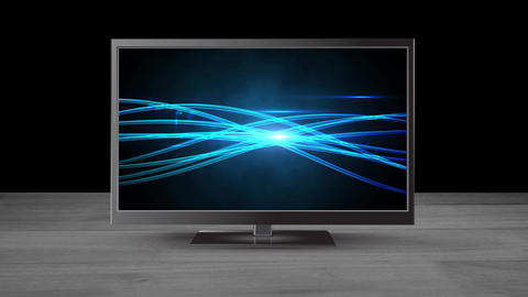 Fat screen TV with bright threads of light on its screen Animation