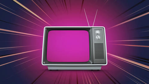 Television with a purple screen Animation