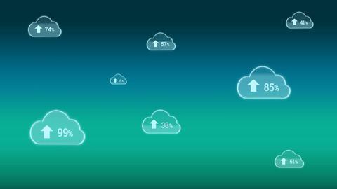 Upload progress clouds Animation