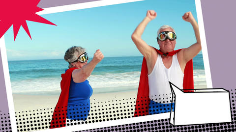 Grandparents wearing superhero costumes Animation
