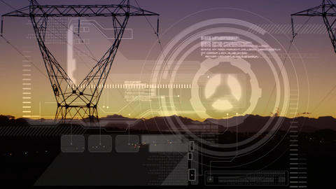 Futuristic interface and power lines Animation