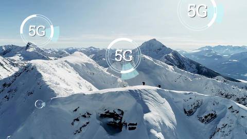 5G written in the middle of a futuristic circles and snowy mountain Animation