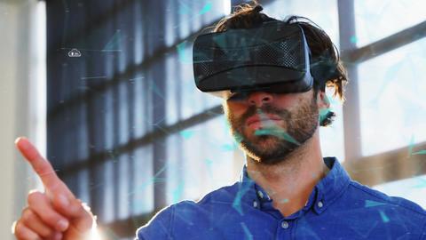 Man wearing virtual goggles and upload progress cloud Animation