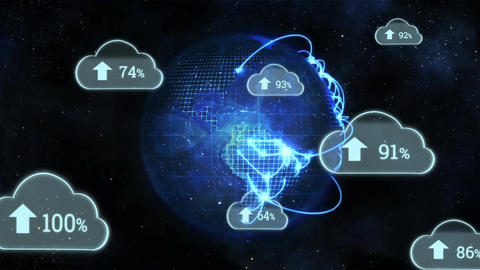 Upload progress clouds and a globe Animation