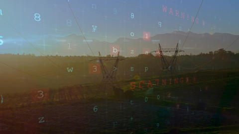 Cyber security words and a field during sunset Animation
