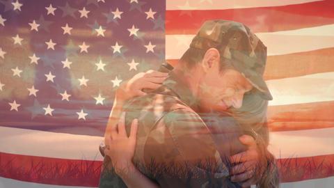 Couple hugging and American flag Animation