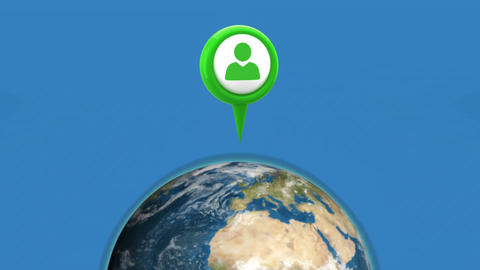 Profile icon in a map pin and a globe Animation