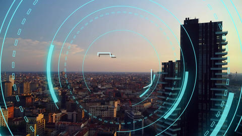 5G written in the middle of a futuristic circles and a view of a city Animation