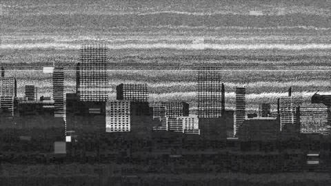 Monochrome static and a view of the city Animation