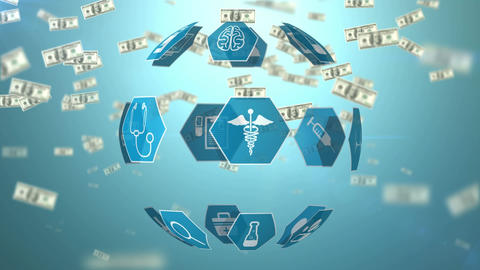 Medical icons and paper bills Animation