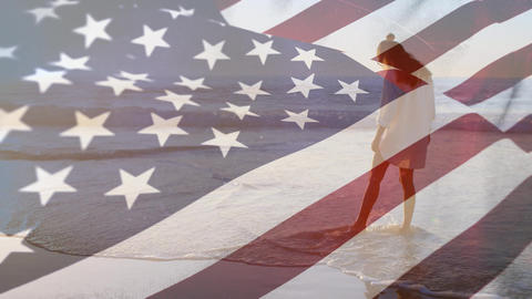 Woman at the beach and an American flag Animation