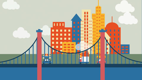 View of the city with buildings and bridges Animation