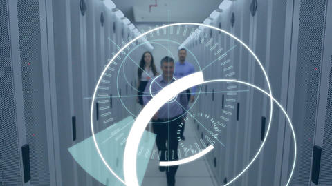 Business people walking in a corridor with 5G inside a futuristic circles Animation