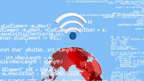Program codes and WiFi symbol with a globe Animation