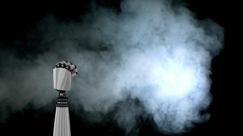 Animation of robot arm with smoke Animation