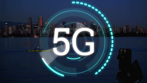 5G written in the middle of a futuristic circles and a view of the city during the evening Animation