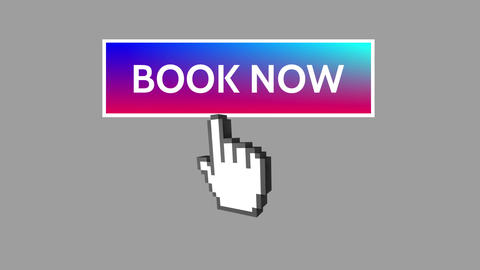 Book now button with pointing hand 4k Animation