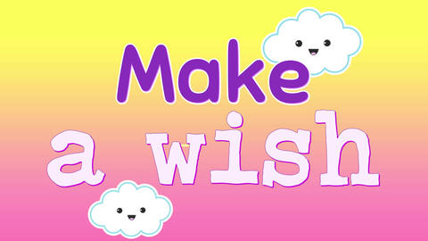 Animation of word Make a wish appearing 4k Animation