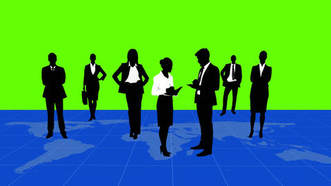 Business people standing on a map Animation