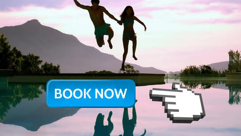 Animation of vacation booking with hand pointing words booking now Animation