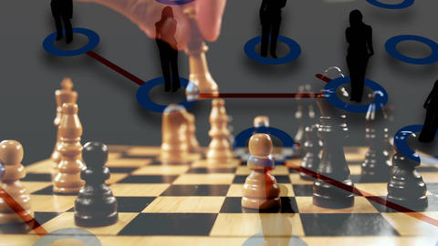 Man playing chess and business people Animation