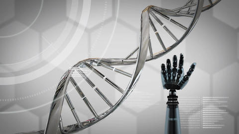Animation of robot arm with DNA helix Animation