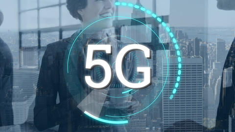 Business people and 5G written in the middle of a futuristic circles Animation