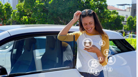 Contented woman browsing her phone 4k Animation