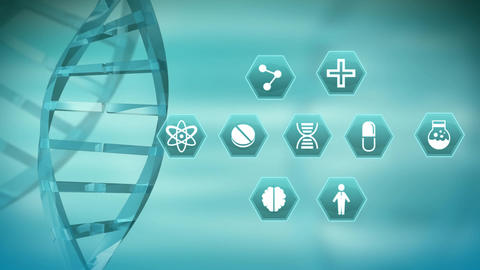 DNA helix with medical science symbols Animation