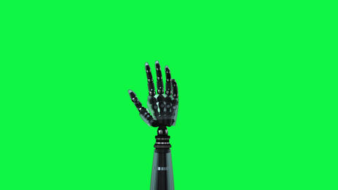 Animation of robot hand on green background Animation