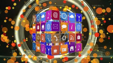 Internet icons and symbols on colourful background Animation