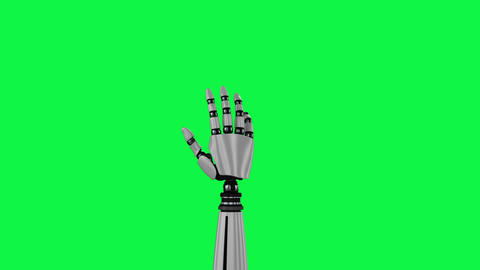 Robot hand rotating on a green background Animation