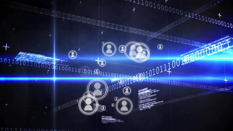Social media connection and binary codes Animation