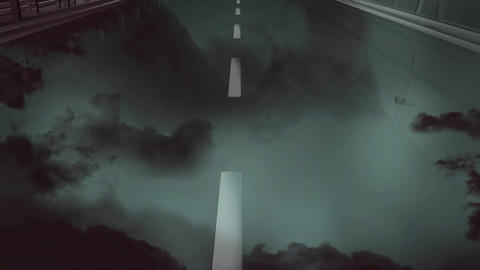 Moving through a road on a stormy night Animation