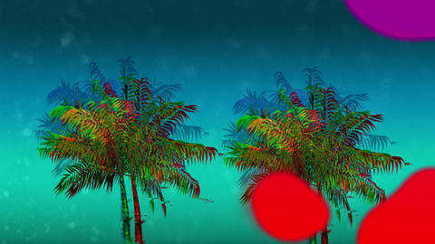 Colorful liquid and palm tree Animation