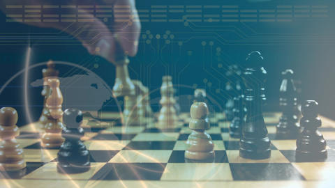 Man playing chess with a globe and digital circuit Animation