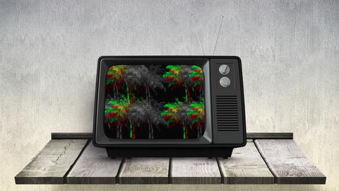 Animation of television with blurry screen 4k Animation